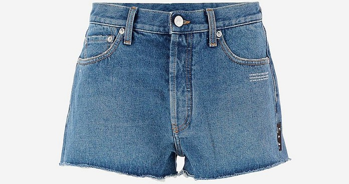 Cotton Denim Women's Short Jeans - Off-White