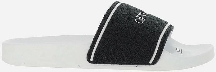 Black and White Rubber Pool Slide Sandals - Off-White / オフホワイト