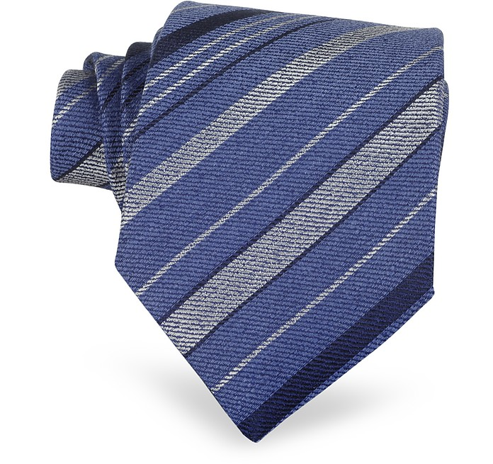 Blue Diagonal Stripe Woven Silk Tie - Forzieri
