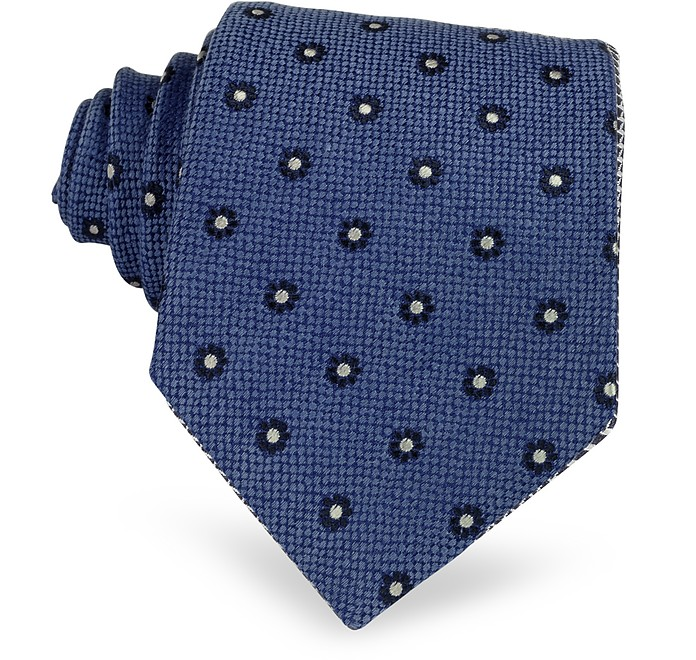Blue Small Flower Woven Silk Tie - Forzieri