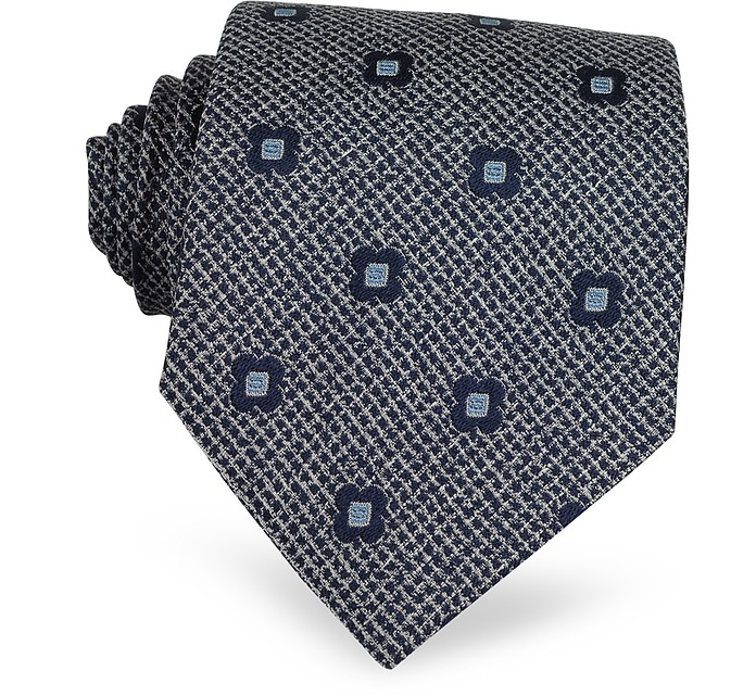Navy Blue Flower Woven Silk Tie - Forzieri