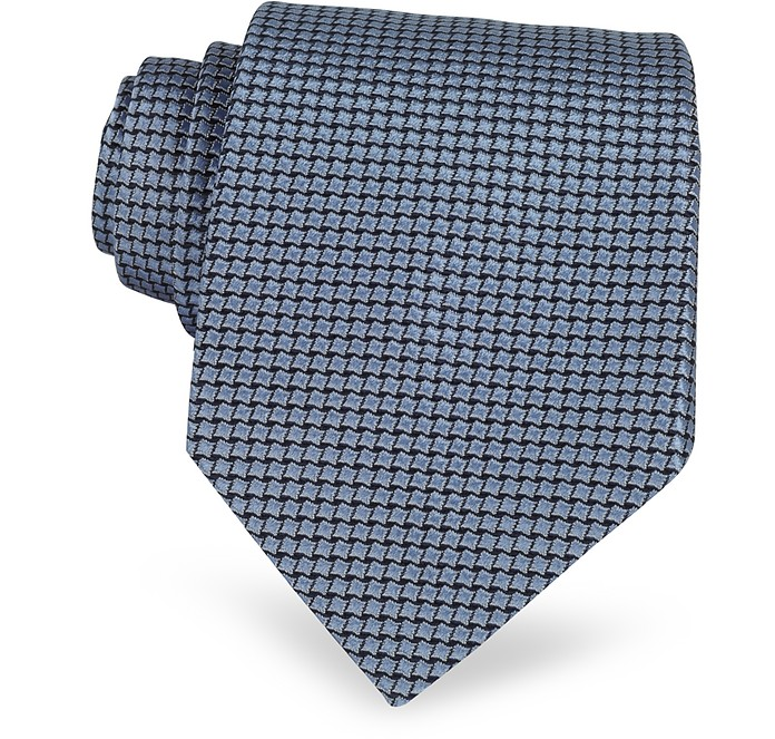 Geometric Two Tone Woven Silk Tie - Forzieri