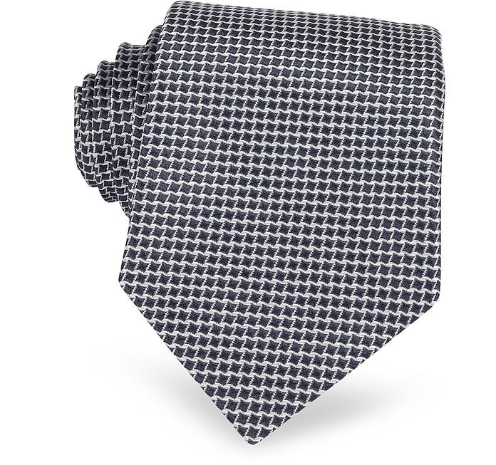 Geometric Two Tone Woven Silk Tie - Forzieri