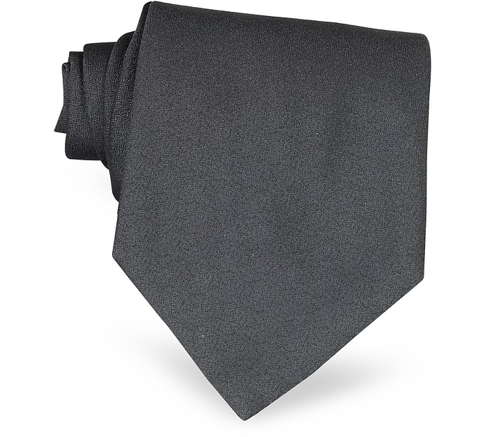 Ponte Vecchio Old Bridge Dark Gray Woven Silk Tie - Forzieri