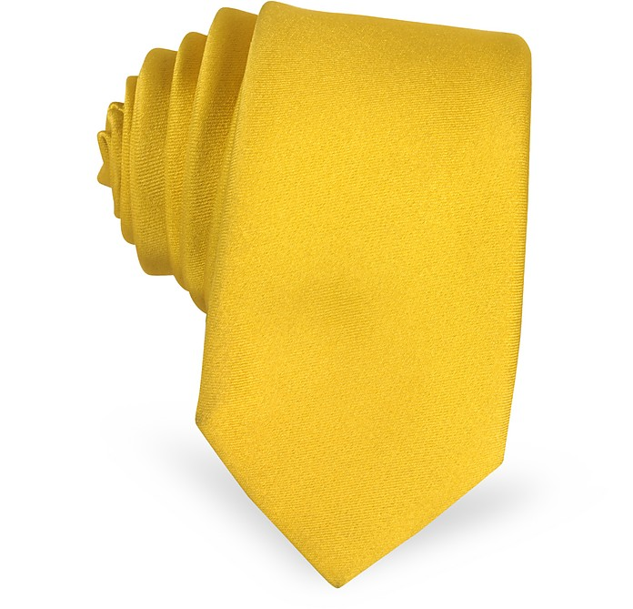 Golden Yellow Satin Silk Narrow Tie - Forzieri / フォルツィエリ