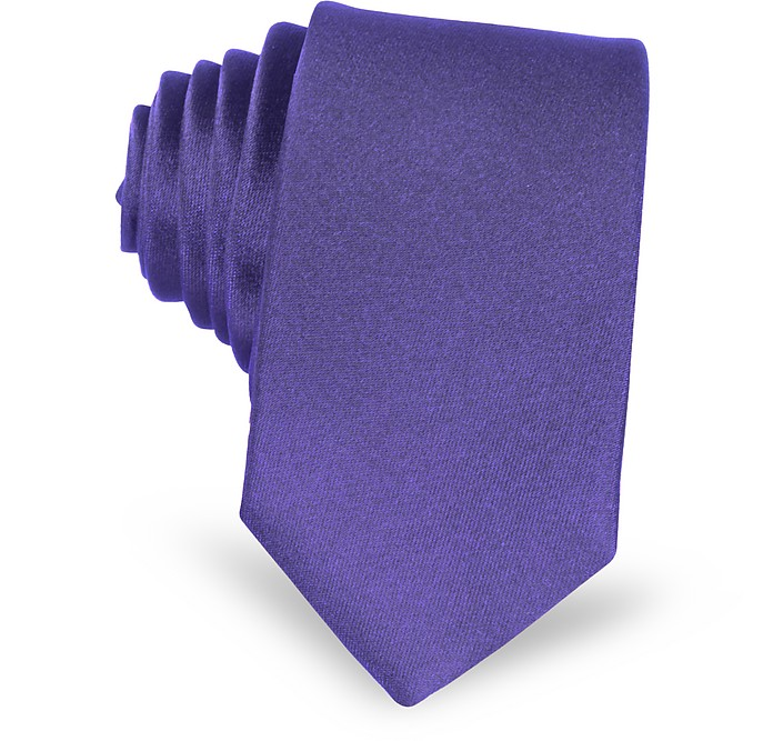 Violet Satin Silk Narrow Tie - Forzieri / フォルツィエリ