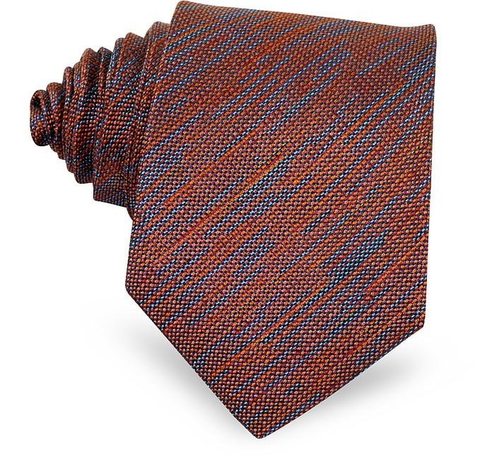 Light Blue & Burgundy Woven Silk Narrow Tie - Forzieri