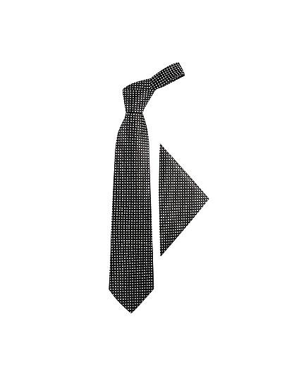 波尔卡圆点真丝领带和口袋方巾 - Forzieri 福喜利