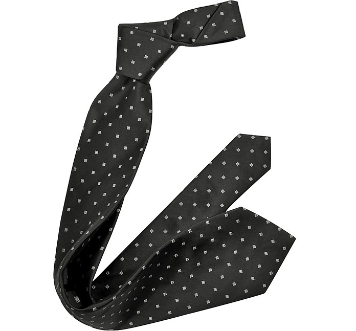 Outlined Diamond Pattern Woven Silk Tie - Forzieri