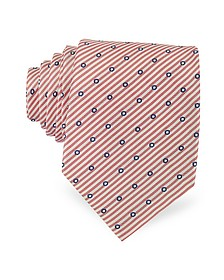 Dots and Stripe Print Woven Silk Tie - Forzieri