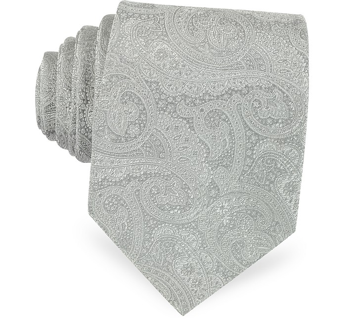 Light Gray Ornamental Print Woven Silk Tie - Forzieri