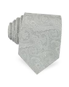 Light Gray Ornamental Print Woven Silk Tie - Forzieri