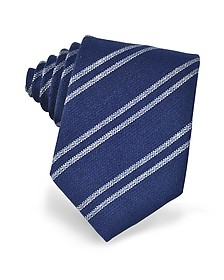 Blue and White Diagonal Striped Woven Silk Tie - Forzieri