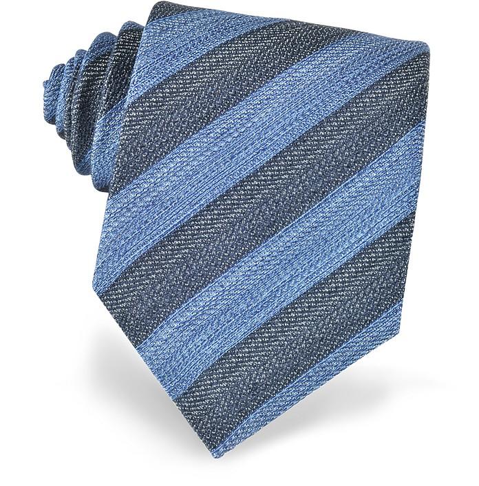 Diagonal Striped Woven Silk Tie - Forzieri
