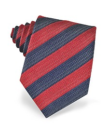 Diagonal Striped Woven Silk Tie - Forzieri