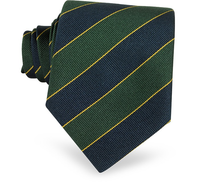 Navy Blue & Green Bands Woven Silk Tie  - Forzieri