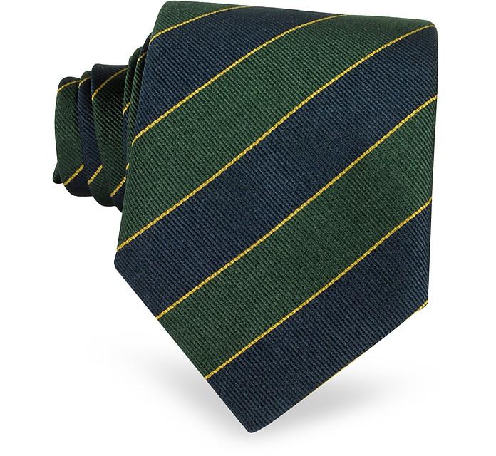 Gewobene Seidenkrawatte mit Streifen in navyblau und grün - Forzieri