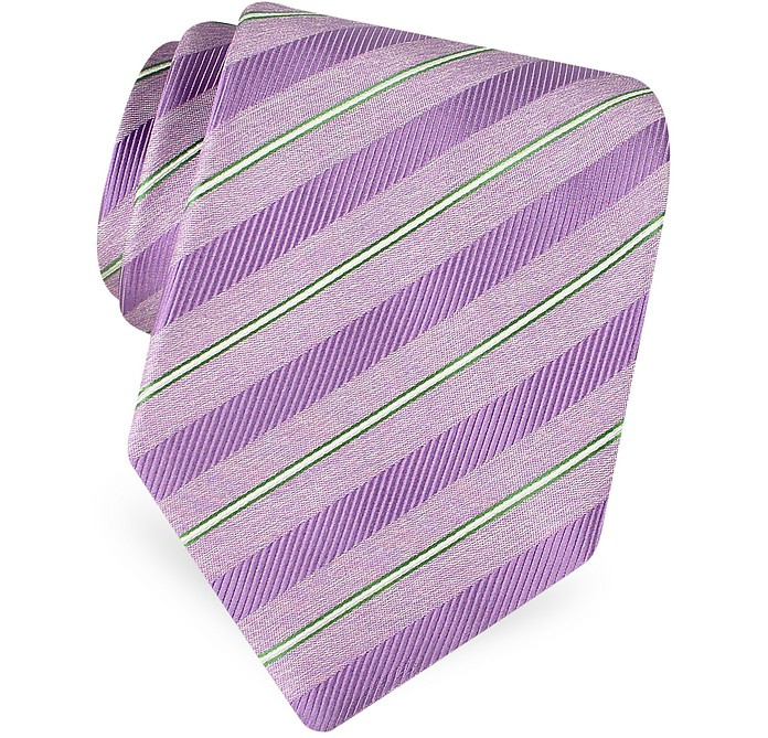 Gold Line- Pin Striped Diagonal Lines Woven Silk Tie - Forzieri