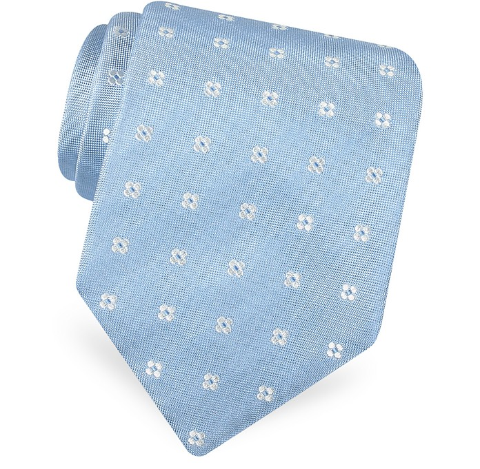 Gold Line- Rounded Flower Dots Woven Silk Tie - Forzieri