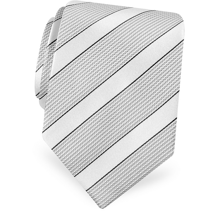 Gold Line-  Silver and Ivory Bands Woven Silk Tie - Forzieri