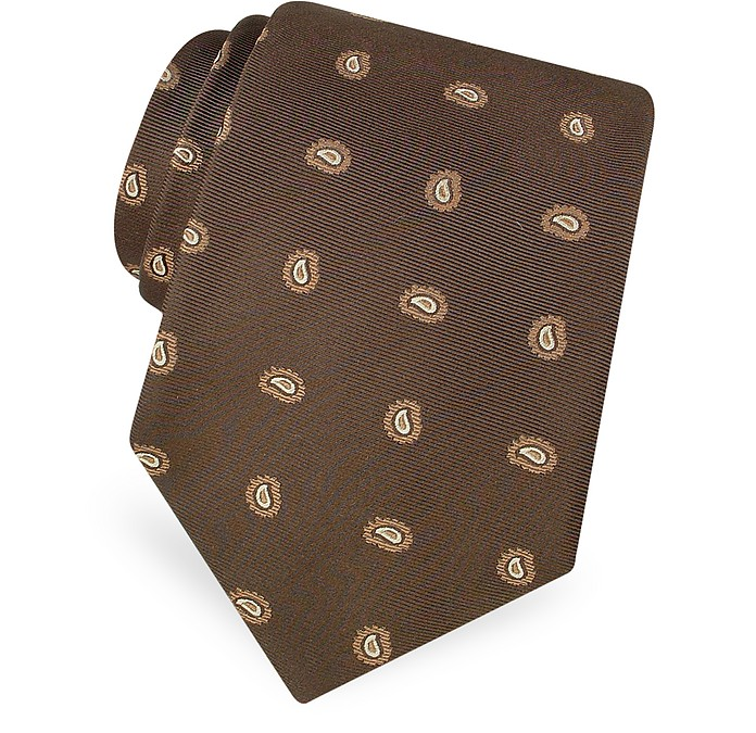 Mini Paisley Pattern Woven Silk Tie - Forzieri