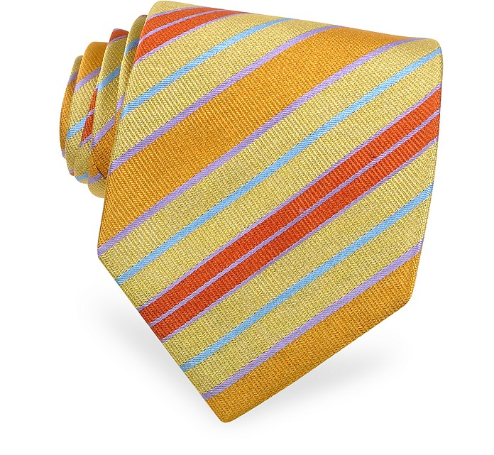 Gold Line - Ribbon Bands Woven Silk Tie - Forzieri