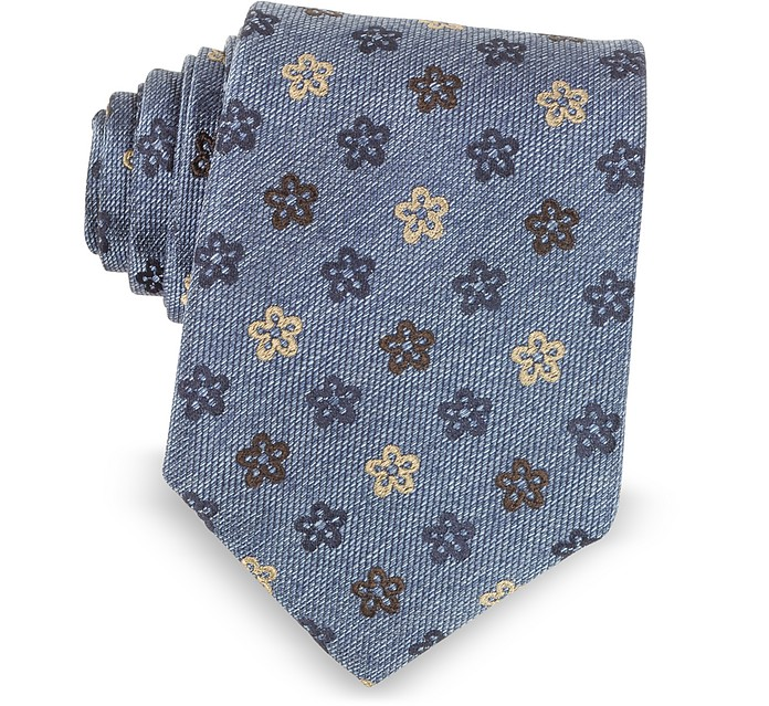 4feea41425df Forzieri Blue Floral Woven Silk Ties at FORZIERI
