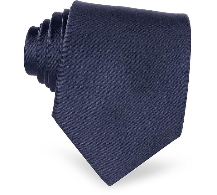 Dark Blue Solid Smooth Silk Tie - Forzieri
