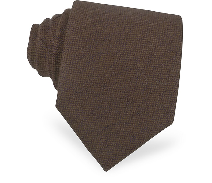 Solid Brown Cashmere Tie - Forzieri