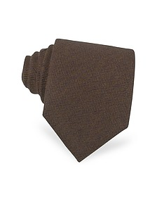 Solid Brown Cashmere Extra-Long Tie - Forzieri