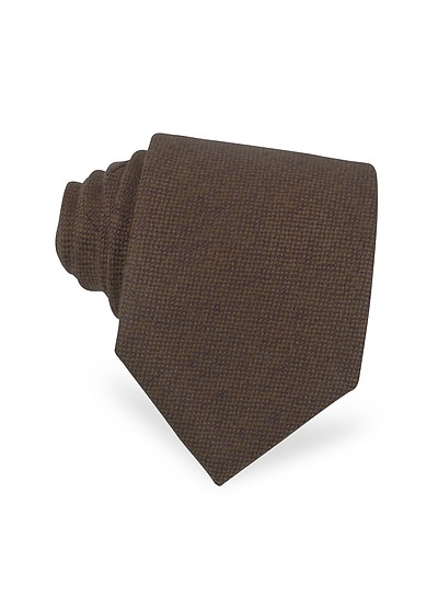 Extra lange Krawatte aus Kaschmir in schlicht braun - Forzieri