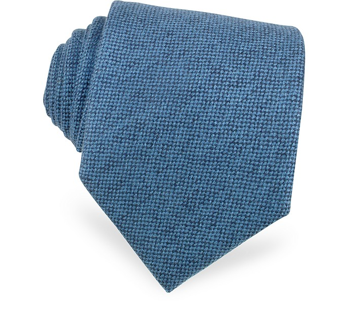 Solid Sky Blue Cashmere Extra-Long Tie - Forzieri