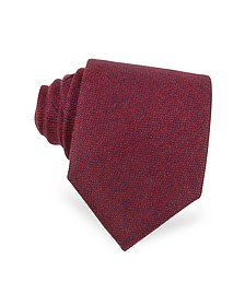 Red and Blue Textured Cashmere Tie - Forzieri