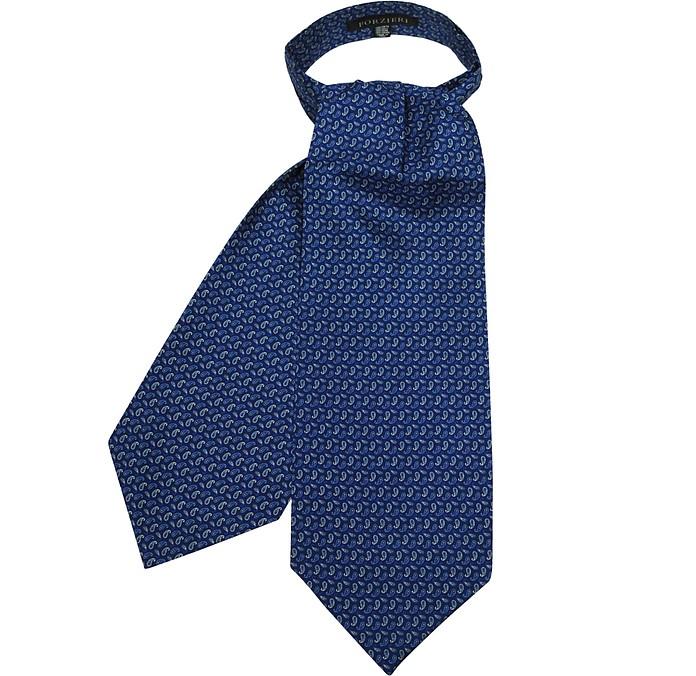 Bright Blue Paisley Printed Twill Silk Ascot Tie - Forzieri