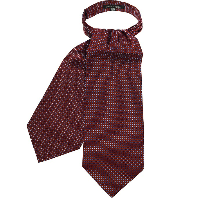 Micro Feather Red Twill Silk Ascot Tie - Forzieri / フォルツィエリ