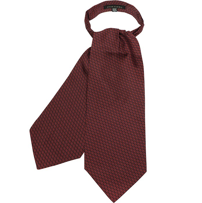 Red Optical Printed Twill Silk Ascot Tie - Forzieri
