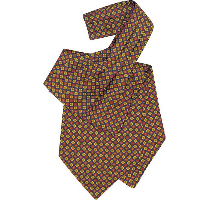Multicolor Floral Print Silk Ascot - Forzieri