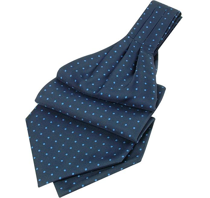 Polkadot Pattern Dark Blue Twill Silk Ascot - Forzieri