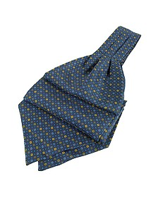 Dots and Flower Print Silk Ascot - Forzieri