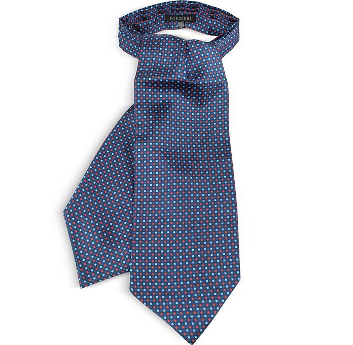 Two Tone Mini Squares Print Silk Tie Ascot - Forzieri