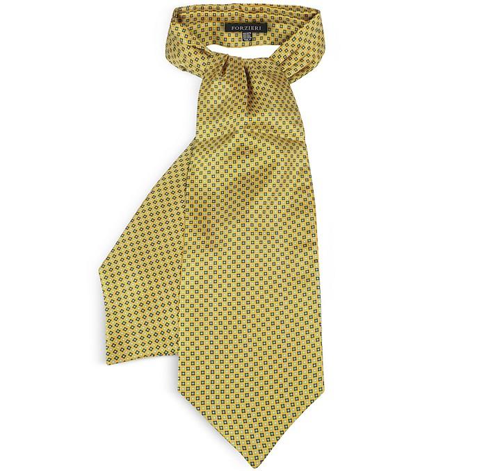 Two Tone Mini Squares Geometric Print Silk Tie Ascot - Forzieri