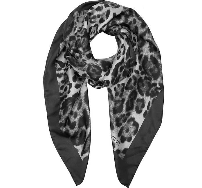 Animal Print Twill Silk Square Scarf - Forzieri / フォルツィエリ