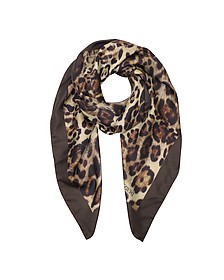Animal Print Twill Silk Square Scarf - Forzieri