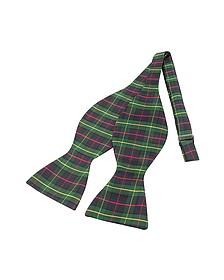 Green Plaid Printed Silk Self-tie Bowtie - Forzieri
