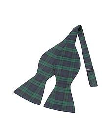 Green & Blue Plaid Printed Silk Self-tie Bowtie - Forzieri