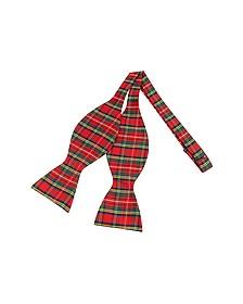 Red & Green Plaid Printed Silk Self-tie Bowtie - Forzieri