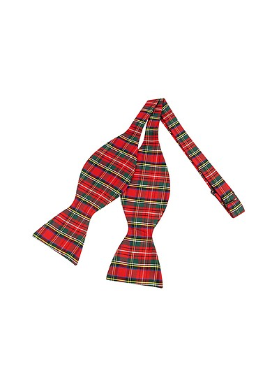 Red & Green Plaid Printed Silk Self-tie Bowtie - Forzieri