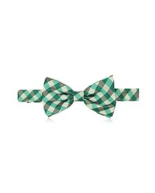 Green Plaid Woven Silk Pre-tied Bow Tie - Forzieri