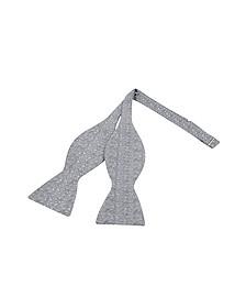 Ceremony Gray Zig-Zag Woven Silk Self-tie Bowtie - Forzieri