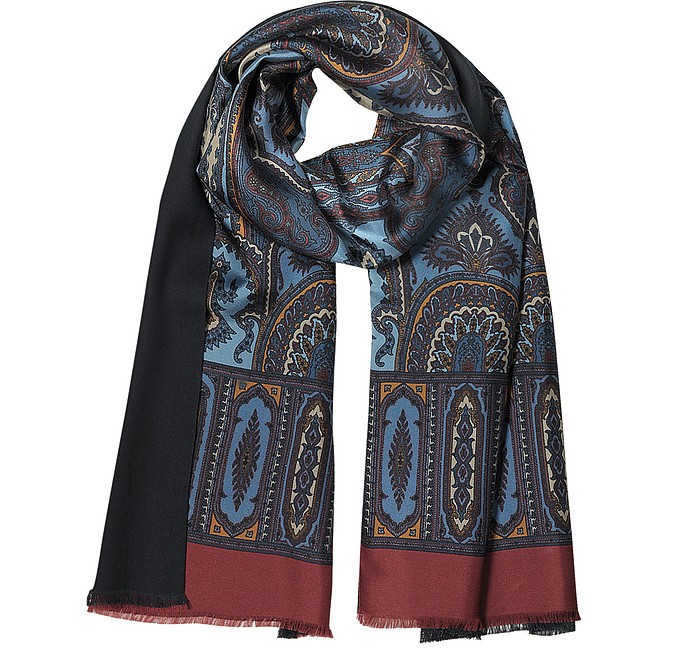 Modal & Silk Ornamental Print Men's Fringed Scarf - Forzieri